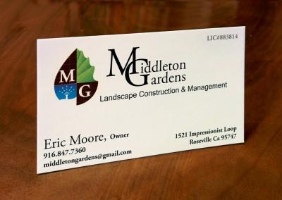Middleton Gardens Business Card